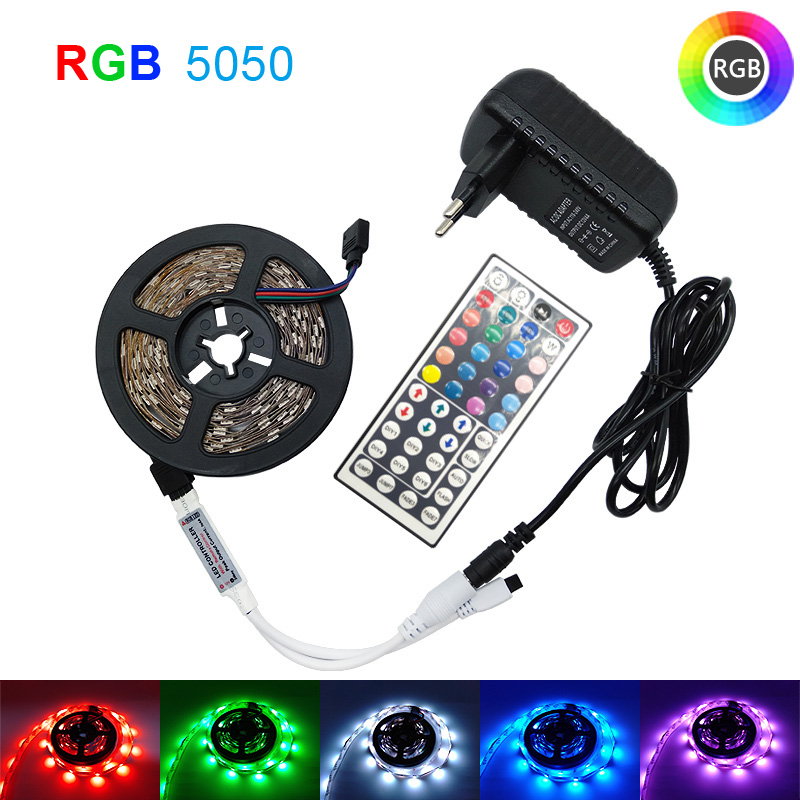 5m 10m 15m 20m LED Strip Light 5050 RGB Strip LED Light 2835 Flexible Ribbon Stripe DC 12V RGB Diode Tape IR Controller Adapter image