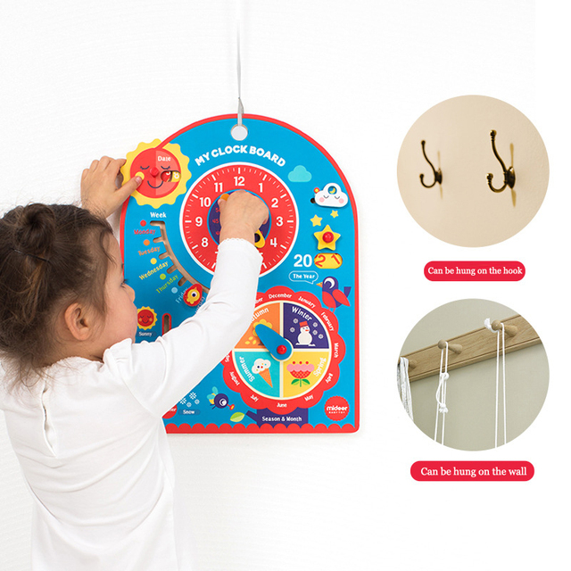 Mideer-Clock-Toys-Learning-Wooden-Clock-Hanging-Board-Children-s-Cognitive-Time-Early-Education-Children-s