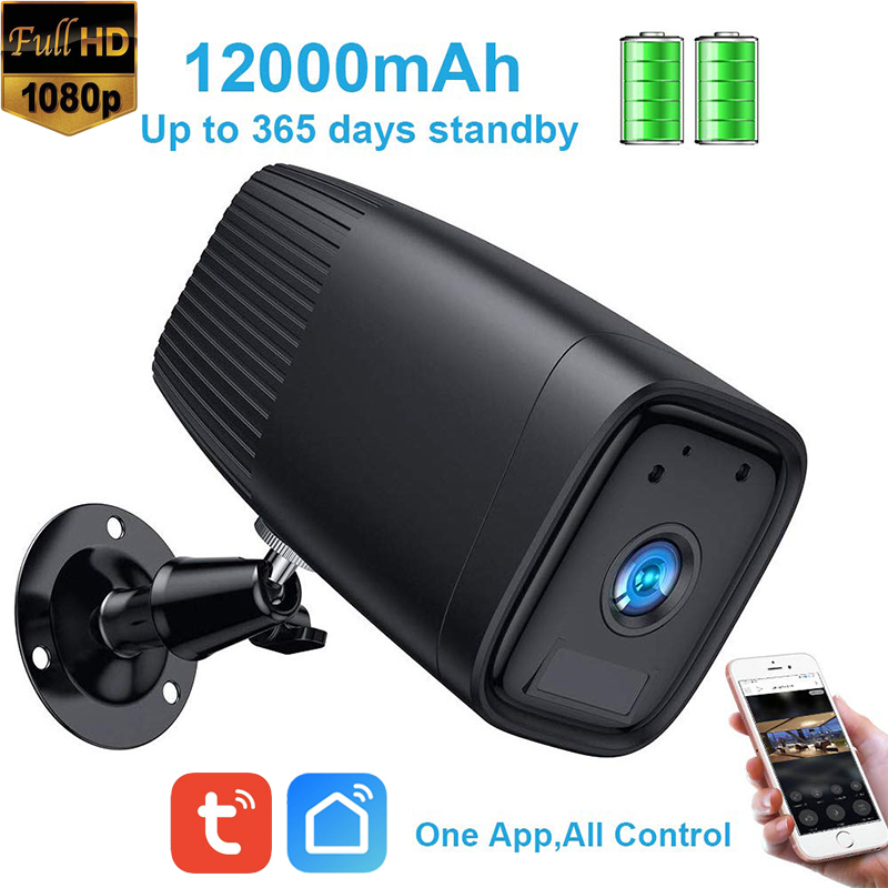Tuya Smart Life Outdoor Battery WiFi Camera Two Way Audio Built-in 12000mAh For 6 Month Using Time