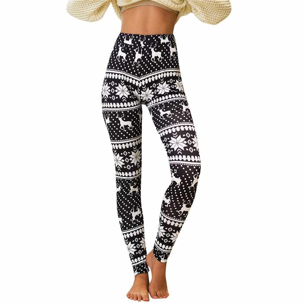 Леггинсы с рождественским принтом, женские спортивные штаны с высокой талией, домашние узкие брюки для бега, леггинсы для фитнеса, женские спортивные штаны, брюки N2