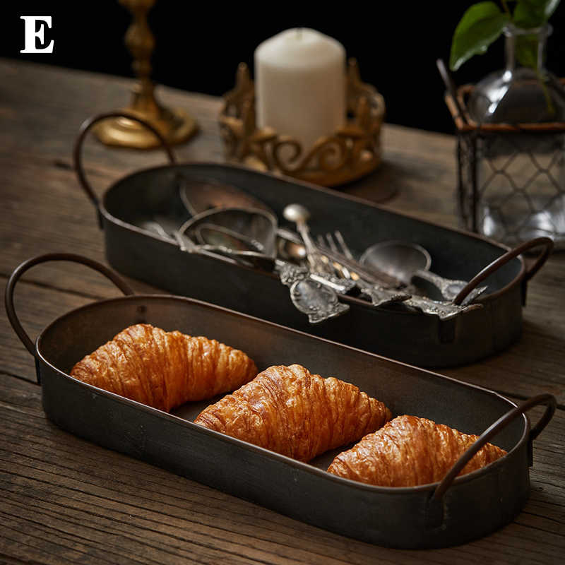 Europese retro ronde ijzeren plaat mand retro franse brood lade retro plaat restaurant home decoratie foto servies props