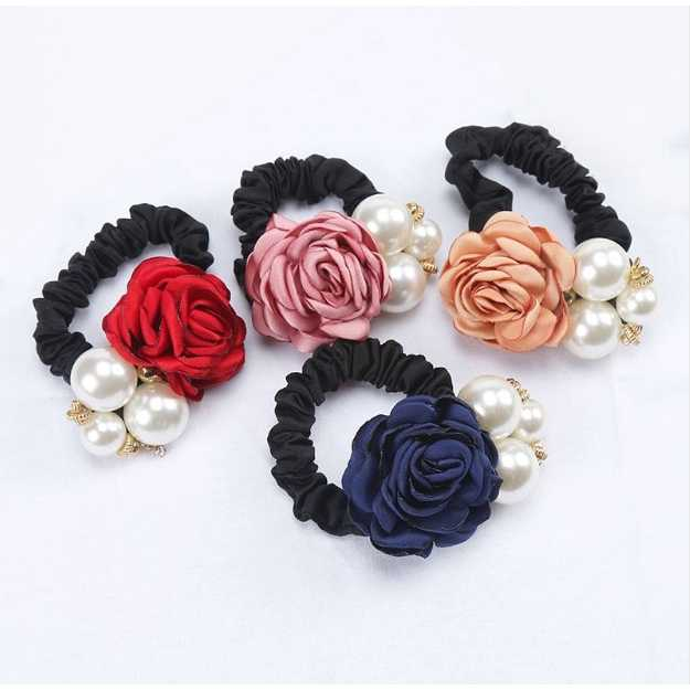Women Fashionable Accessories Flower Round Headwear Sweet Style Polychromatic Camellia Decorates Headdress Pearl Rope Girl