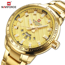 NAVIFORCE Luxury Brand Mens 스포츠 방수 골드 손목 시계 스테인레스 스틸 비즈니스 시계 남성 쿼츠 시계 Relogio Masculino