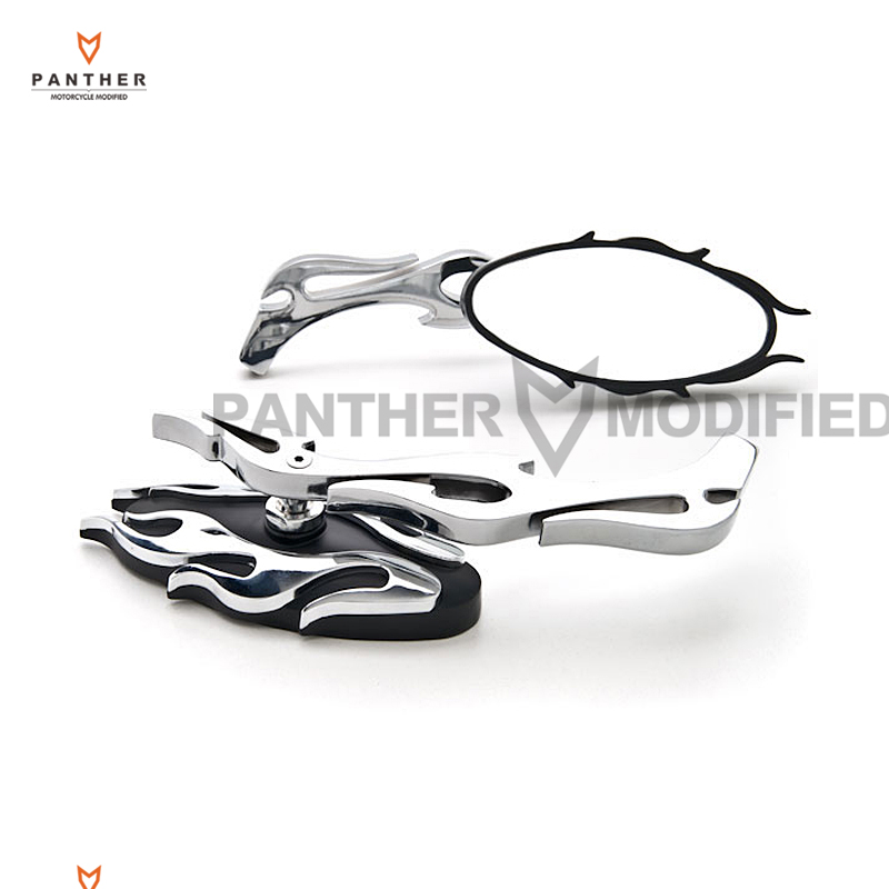 Chrome Flame Motorcycle Mirror Moto Rear View side Mirrors case for Harley Sportster XL Dyna Softail Electra Glide Chopper image