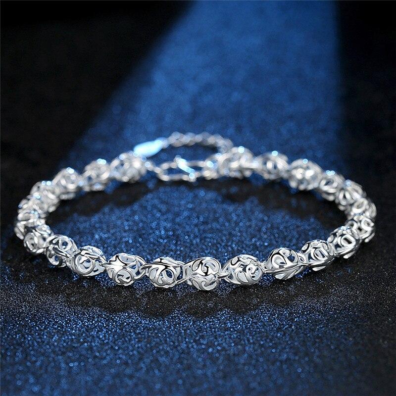 DAIWUJAN 925 Silver Flower Beads Charm Bracelets For Women Hollow Ball Silver Bracelet Adjustable Wedding Party Jewelry Gifts
