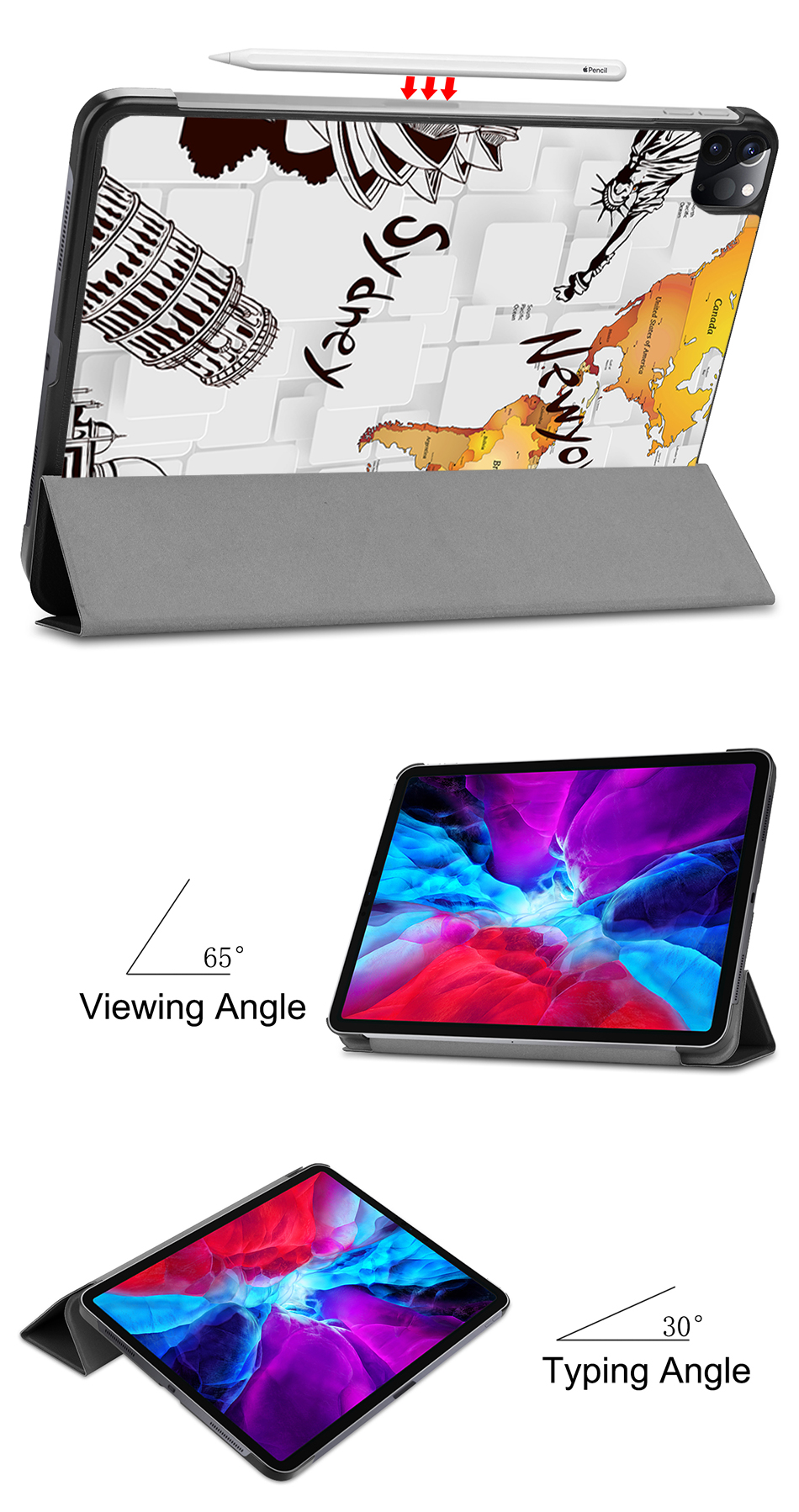 Case MTT With 12.9 Pencil Pro 2018 Gen For Leather PU Magnetic 3rd iPad Holder Tablet