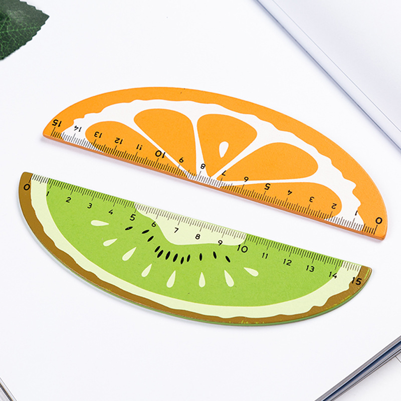 15cm Creative Fresh Fruit Shape Wooden Ruler Student Learning Drawing Stationery Ruler Office School Stationery Measuring Tool