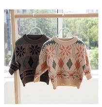 Suéter para niñas con manga larga, cárdigan tejido suave para niños, ropa para niños, suéter Casual holgado con patrón de cuadros, suéter unisex