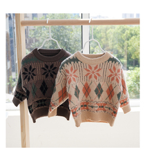Sweter dziewczęcy z pełnym rękawem dla dzieci ściereczka sweter dziergany dla dzieci odzież Casual wzór w kratkę luźny sweter Unisex sweter