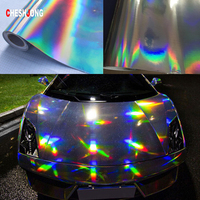 152cm*20m Black Silver Chrome Laser Plating Car Stickers Holographic Vinyl Film Roll Bubble Free DIY Phone Laptop Car Styling