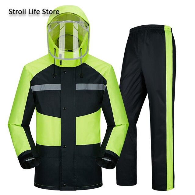 Raincoat Rain Pants Suit Men Adult Motorcycle Waterproof Rain Coat Jacket Mens Sports Suits Rainwear Casaco Masculino Gift Ideas
