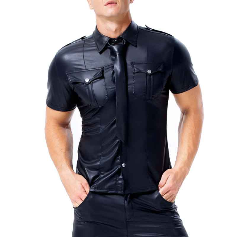 Plus Size Mens Faux Leather Uniform Shirt Gay Short Sleeve Slim Fit Top Clubwear