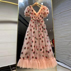 Strawberry Dress Puff-Sleeve Sequins Floral V-Neck Women Elegant Mid
