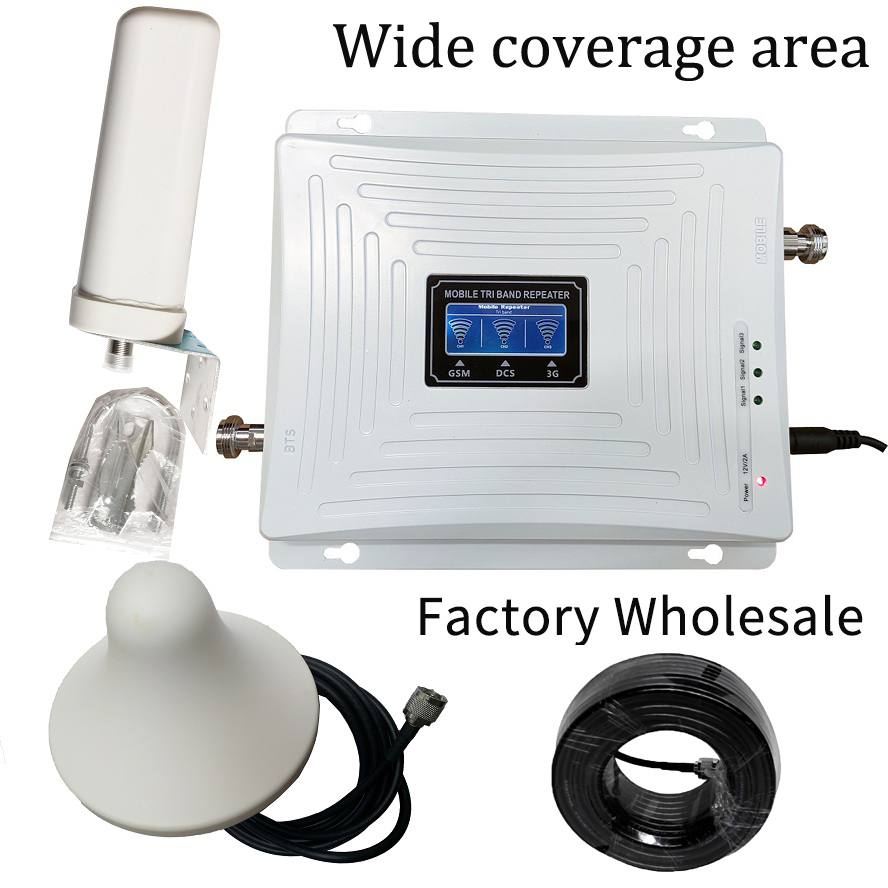 2G 3G 4G Triple Band Cell Phone Signal Booster GSM 900 LTE 1800 WCDMA 2100 Mhz Mobile Cellular Signal Repeater Antenna Set Cover