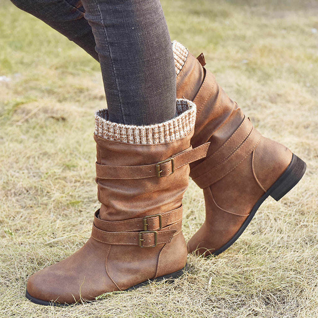 Women/'s Low Heels Mid Calf Riding Boots Round Toe Buckle Strap Zip Casual Shoes