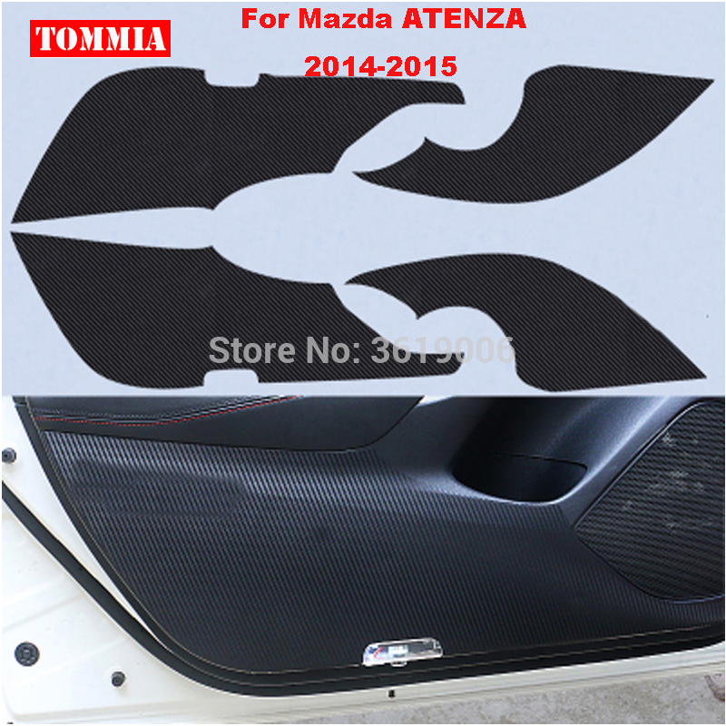 TOMMIA For Mazda ATENZA 2014-2015 Car Inside Door Cover Scratch Protection Anti Kick Pads Carbon Fiber Stickers 4pcs