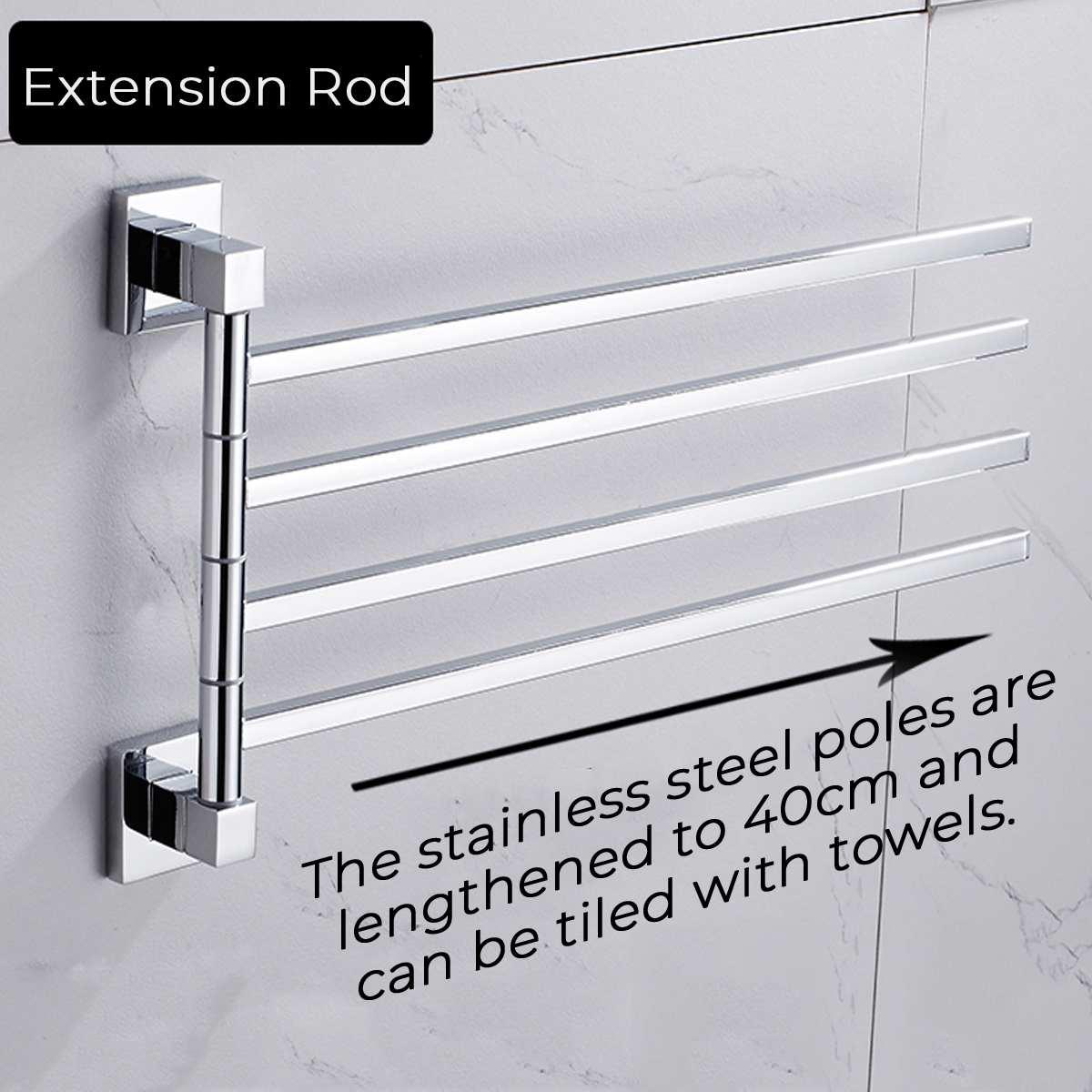 2/3/4 Bars Stainless Steel Towel Shelf Wall-Mounted Rotating Rail Hanger Towel Holder Bathroom Holder Shelf Adhesive Force