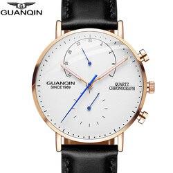 GUANQIN męskie zegarki Top marka luksusowy chronograf zegar mężczyźni wodoodporny Casual kreatywny zegarek mężczyźni kwarcowy zegarek Relogio Masculino