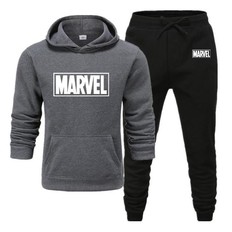 2020 new Print Tracksuit Men Thermal Men Sportswear Sets Cotton Hoodie+Pants Sporting Suit Casual Sweatshirts Sport Suit