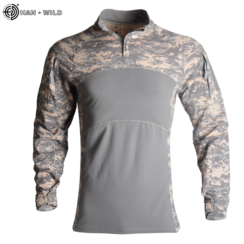 Military Uniform US Army Tactical  Airsoft Camouflage Combat-Proven Shirts Rapid Assault Long Sleeve Shirt Battle Strike