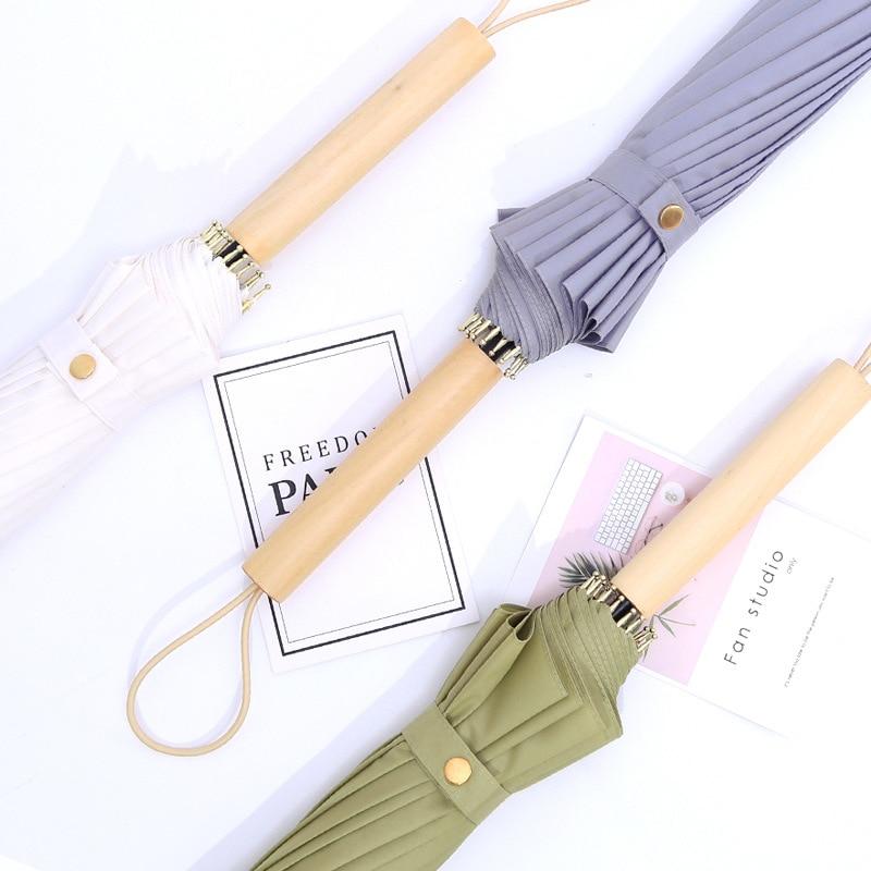 16 Bone Straight Handle Umbrella Business Solid Wood Handle Self-opening Umbrella Extra-large Wind-Resistant Umbrella Solid Colo