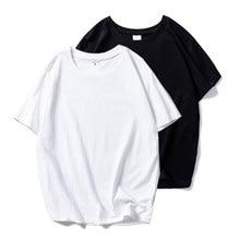 Футболки для женщин черный, Белый цвет футболки однотоная обувь; Хлопковые топы и футболки с короткими рукавами летнее платье размера плюс, ...
