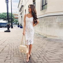 Woman Dress Elegant Evening White Lace Suspenders Backless Sleeveless Dinner Dresses for Wedding Party Pencil Dress Sale Items