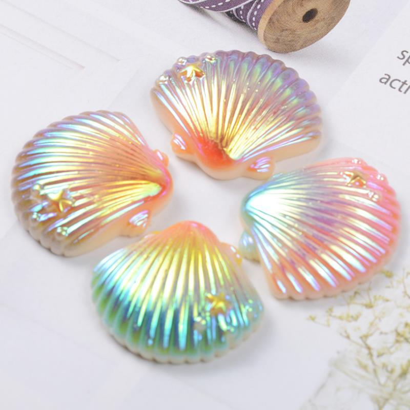 10 Pcs/lot Lovely DIY Patch Gradient Color Shell Figurine Crafts Phone Case Storage Box Accessories Kids Craft Toy Gift