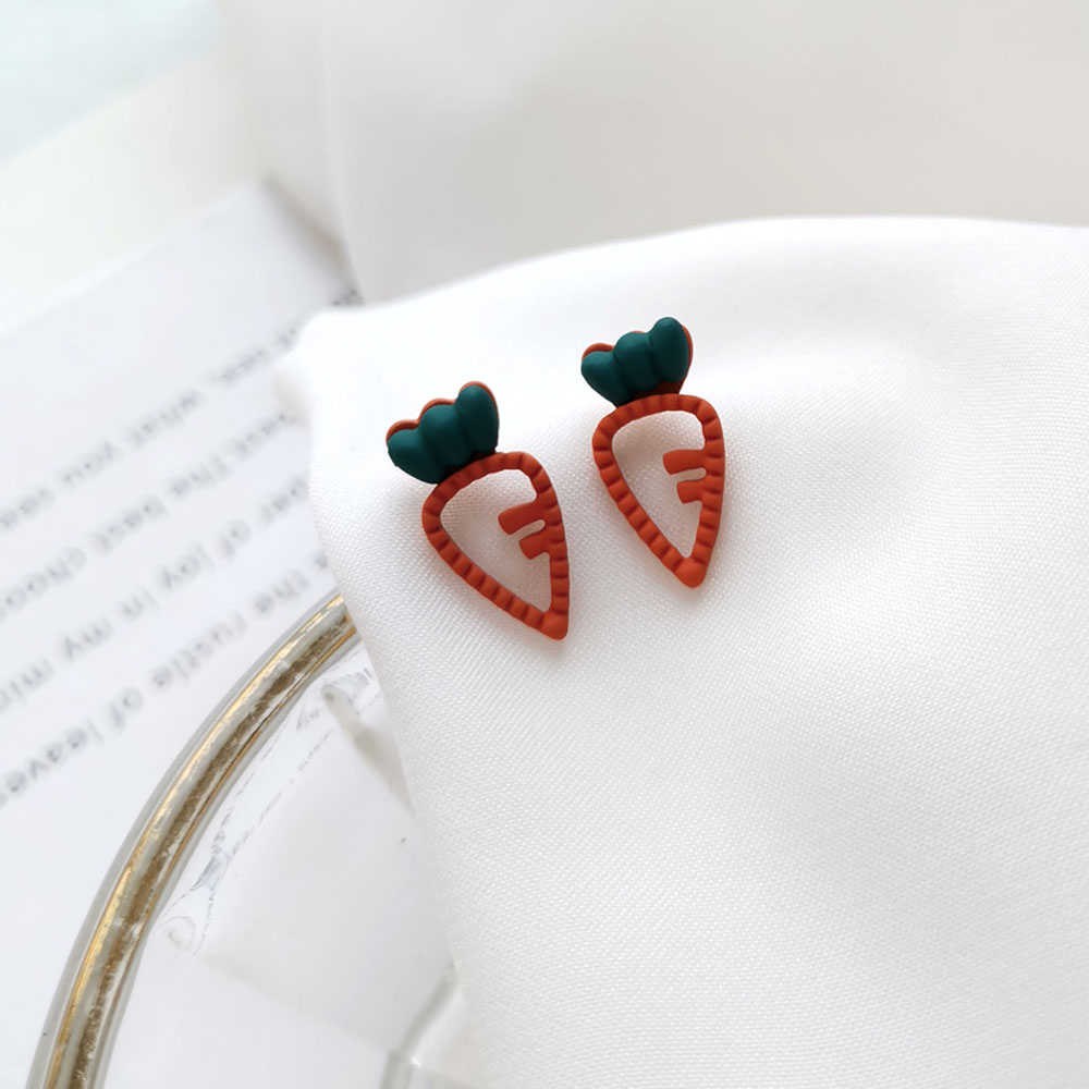 Симпатичные мини-серьги-гвоздики, необычные серьги с морковкой, Модные Цветные ажурные женские ювелирные изделия, подарочные серьги