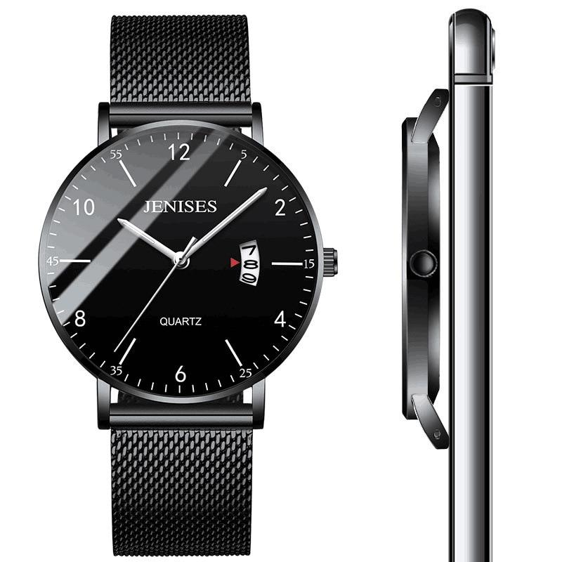 JENISES Men Ultra Thin Wrist Watch Men's Fashion Watch Top Brand Luxury Male Clock Business Wristwatch Quartz Casual Watch 2020