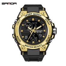 SANDA Men Watches Quartz Sports Casual Waterproof Dual Movement LED Chronograph Repeater Digital Watch Men Relogio Masculino(China)