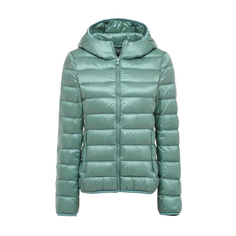 2019 chaqueta de invierno para mujer, abrigo de plumón de pato, con capucha naranja, chaqueta de plumas Ultra ligera para mujer, Parka cálida rosa 2XL 3XL