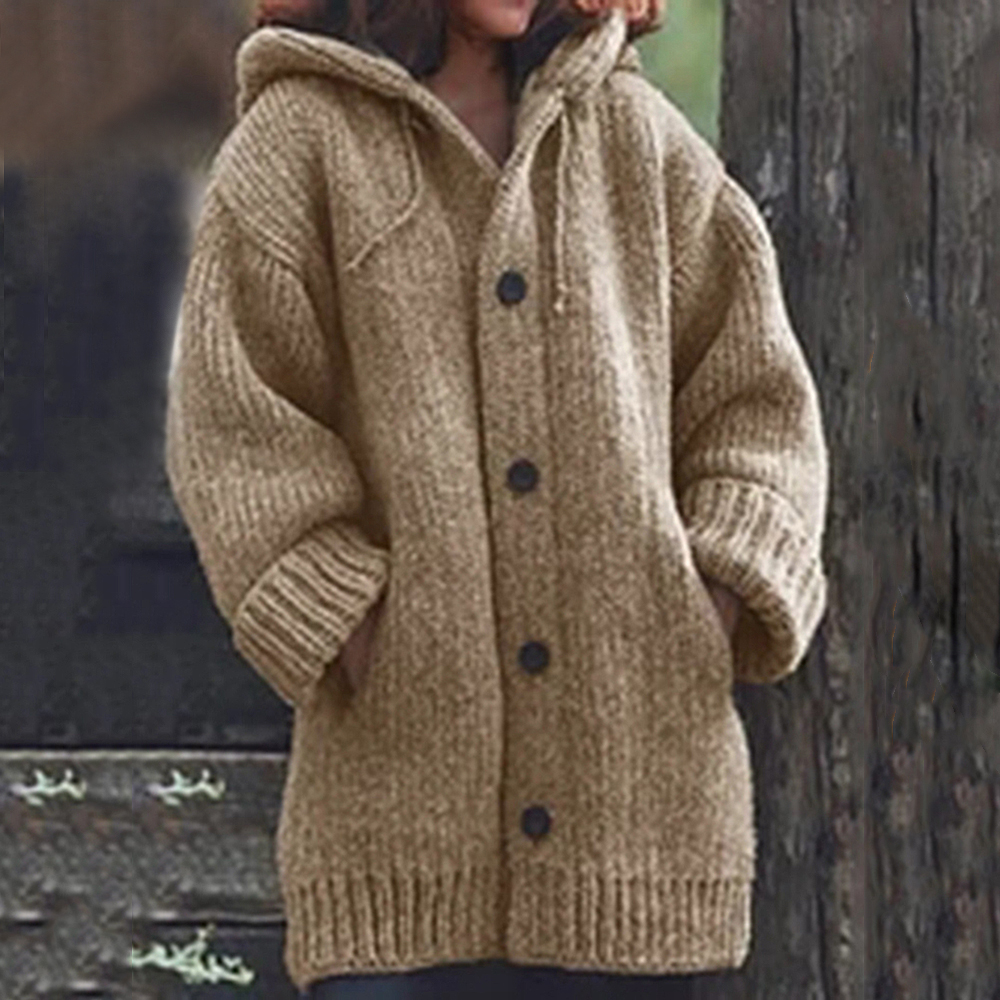MJARTORIA Autumn Women Long Cardigan Solid Hooded Sweater Long Coat Winter Women Knitting Coat Plus Size 5XL Casual Knittwear2