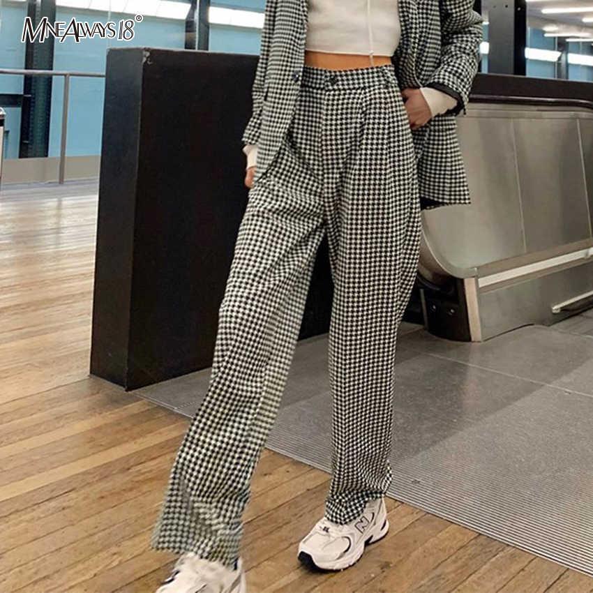 Mnealways18 Pantalones De Tela Escocesa Vintage Para Mujer Pantalones De Algodon A La Moda Para Mujer Pantalones Rectos De Talle Alto Ropa Informal Suelta 2020 Para Mujer Pantalones Y Pantalones Capri Aliexpress