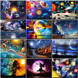 RUOPOTY Planet Diamond Painting 5D DIY Diamond Embroidery Mosaic Full Square Layout Rhinestone Picture Universe Moon Hobbies