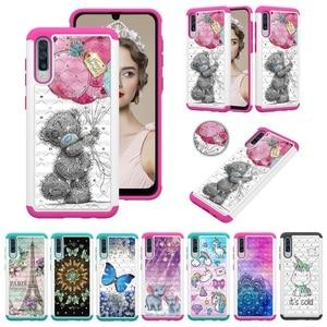 Image 1 - Paillettes Diamant Téléphone étui pour samsung Galaxy A30 A50 A20 A20e A10e Note10 Note Pro 10 PC TPU Hybride Bling Strass Housse