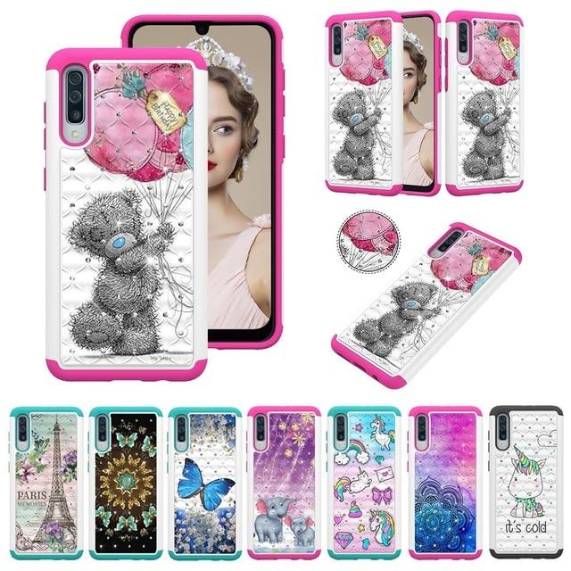 Paillettes Diamant Téléphone étui pour samsung Galaxy A30 A50 A20 A20e A10e Note10 Note Pro 10 PC TPU Hybride Bling Strass Housse