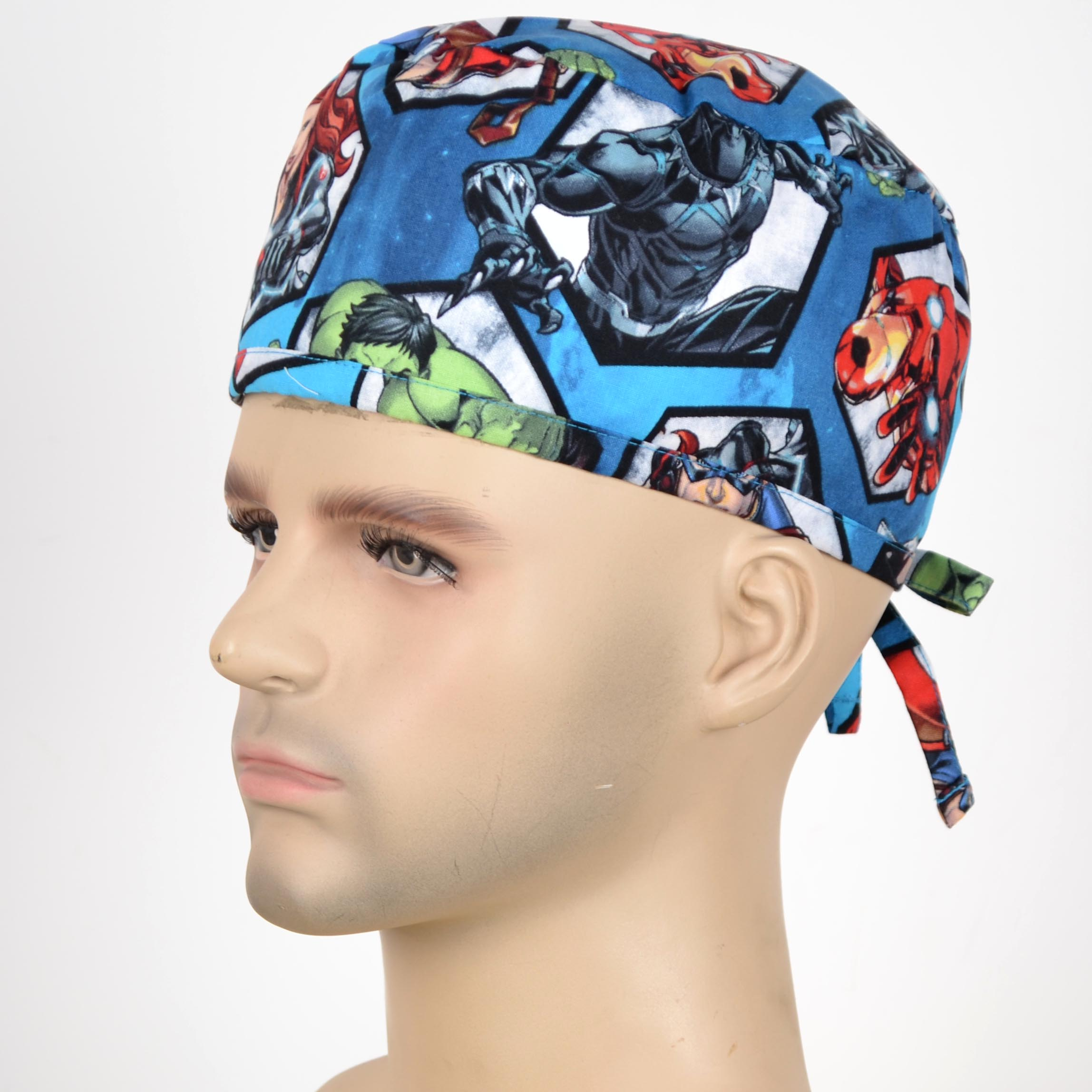 Men Print Medica Cap In 100% With Tie Back Band For Most Of The Men Head