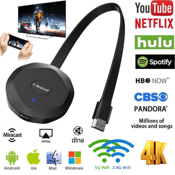 цена на 4K Mirror Screen Anycast Miracast AirPlay Wireless HDMI TV Stick 5G Wifi Display Receiver Dongle Mirascreen for netflix Youtube