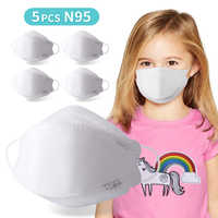 N95 Mask Kids Disposable Protective Anti Infection Face Meltblown Cloth Mouth 5 PCS with 4 Filter Layers Breathable Dustproof