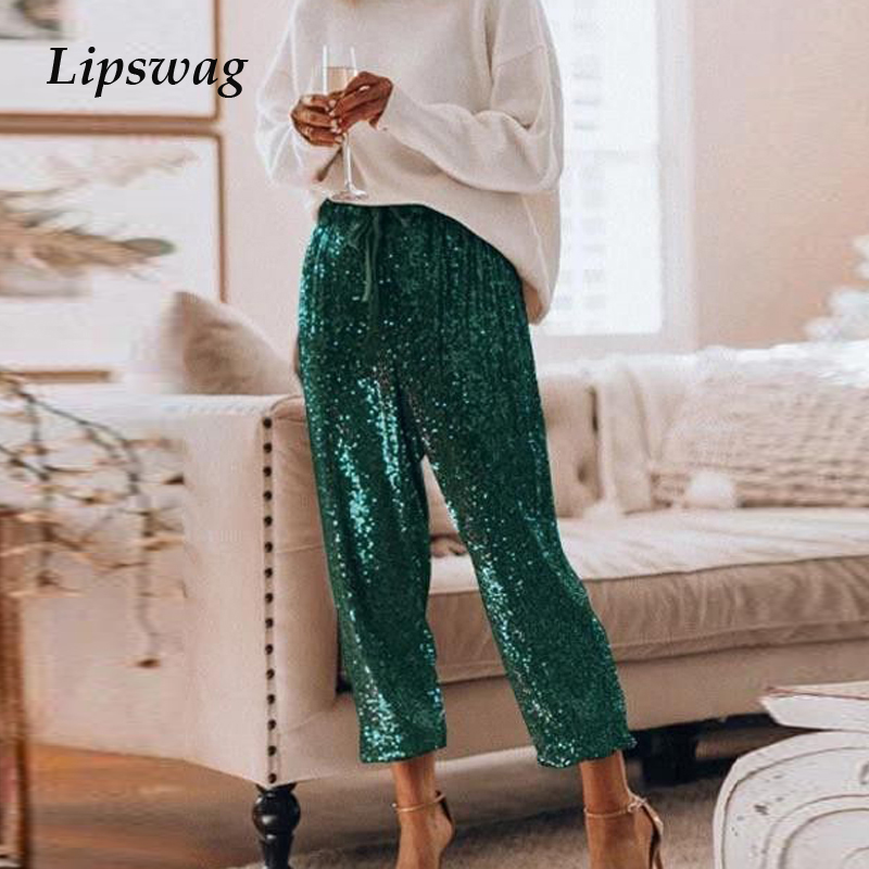 Sexy Sequined Glitter Shiny Long Pants Women 2020 Spring Casual Elastic Straight Sweatpants Lady Streetwear Loose Belt Trousers