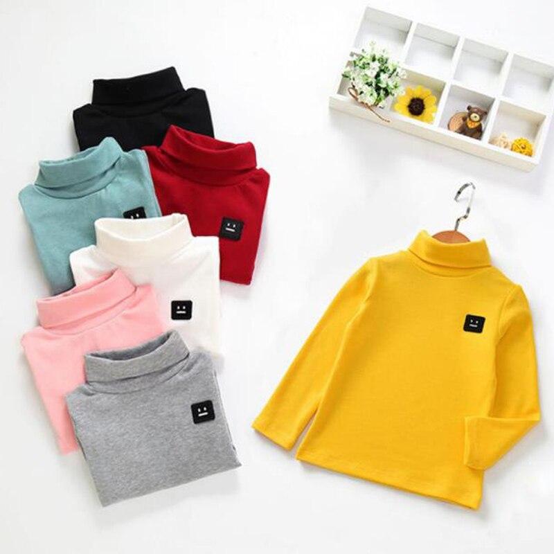 Осенне зимние футболки для маленьких мальчиков и девочек Новые повседневные Детские рубашки с высоким воротником теплая одежда с длинными рукавами для малышей футболки Тройники      АлиЭкспресс