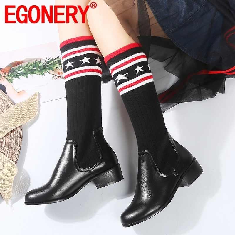 EGONERY bahar kış yeni moda diz yüksek çizmeler dışında orta topuklu karışık renkler yuvarlak ayak kadın ayakkabı damla nakliye boyutu 32-45