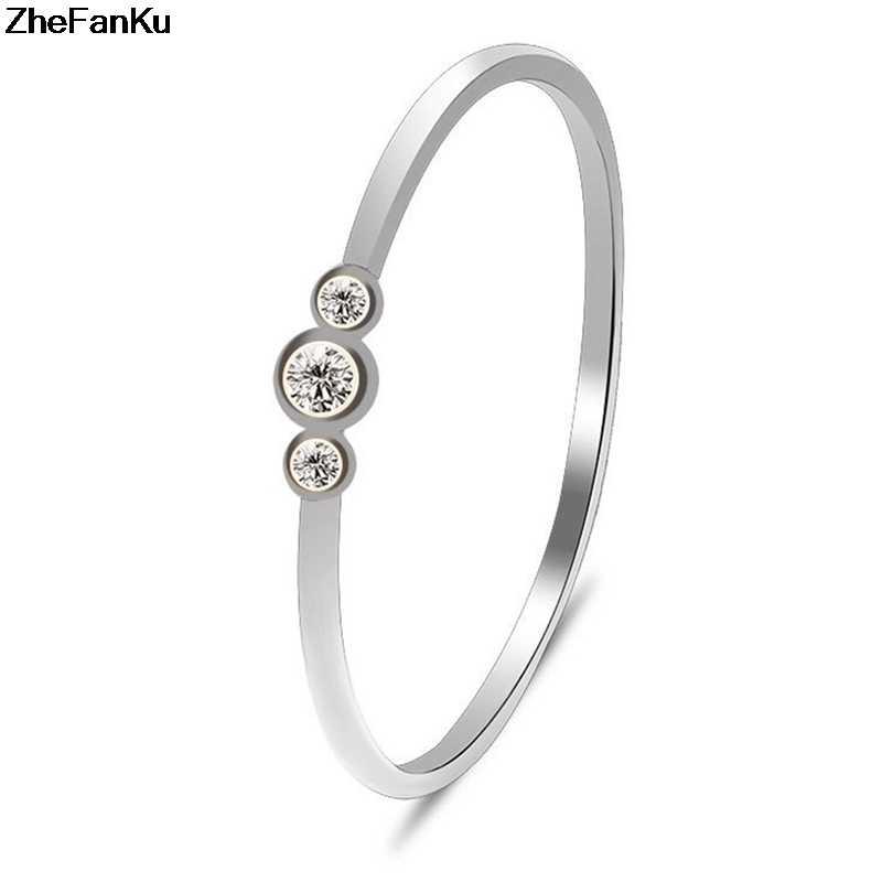 2018 ใหม่แฟชั่นผู้หญิงทองเรียบง่าย 3 คริสตัลเพชร Zircon แหวนเจ้าสาวแต่งงานแหวน Dropshipping