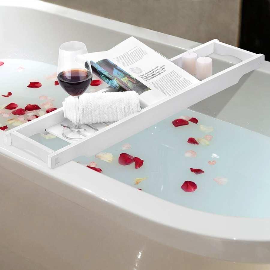 Wärmer Moderne Weiß Farbe MDF Bad Tray Badewanne Lagerung Rack Regal Organizer Wein Halter yoni dampf
