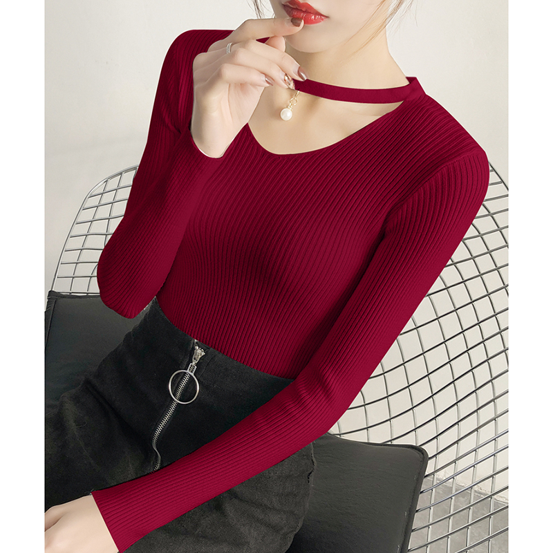 AOSSVIAO V Neck Sweaters Women 2019 Autumn Winter Long Sleeve Sexy Slim Tops Solid Streetwear Knitted Korean Pullover Burgundy in Pullovers from Women 39 s Clothing