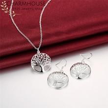 Charmhouse, наборы ювелирных изделий из чистого серебра для женщин, кулон в виде Древа Жизни, ожерелье, серьги, 2 шт., ювелирный набор, колье, Brincos Femme
