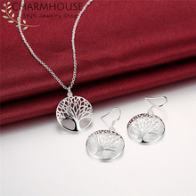 Charmhouse Pure Silver Jewelry Sets For Women Tree Life Pendant Necklace Earrings 2pcs Jewellery Set Collier Brincos Femme(China)