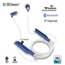 BGreen Sports Bluetooth Earphones Wireless Stereo Bendable Running Built in MP3 Headset Support SD TF Card Magnet Attraction(China)