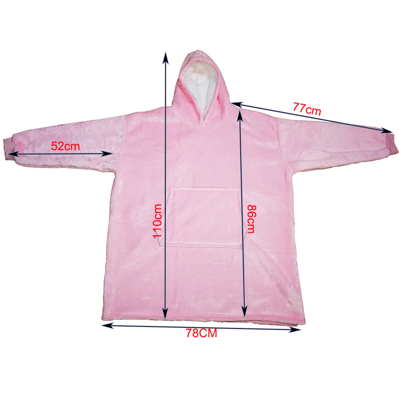 Winter Sherpa Blanket With Sleeve Ultra Plush Blanket Hoodie Pink Grey Wine Blue Warm Flannel Hooded Blankets-4